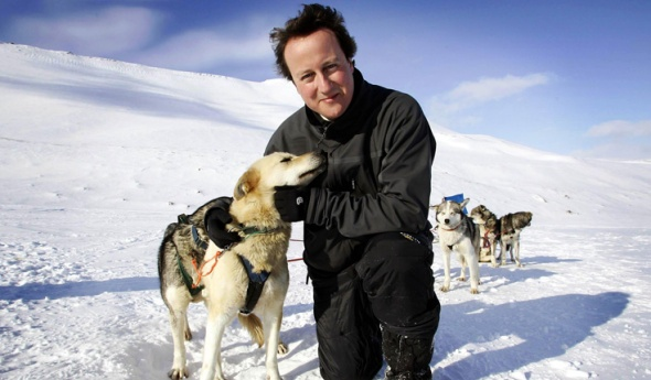 UK Prime minister David Cameron's days of bothering huskies are over. He may still have a wind turbine on the roof of his house.