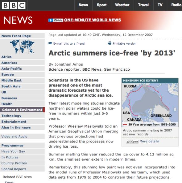BBC Arctic Ice free