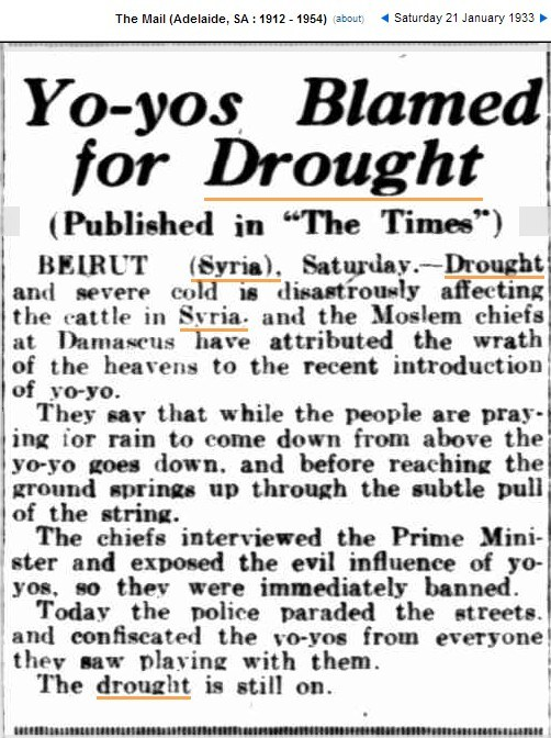 Yo-Yo Ban - Blamed for Syria Drought 1933