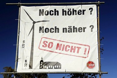 Protest poster against the construction of wind turbines in Hamburg, Germany, Europe