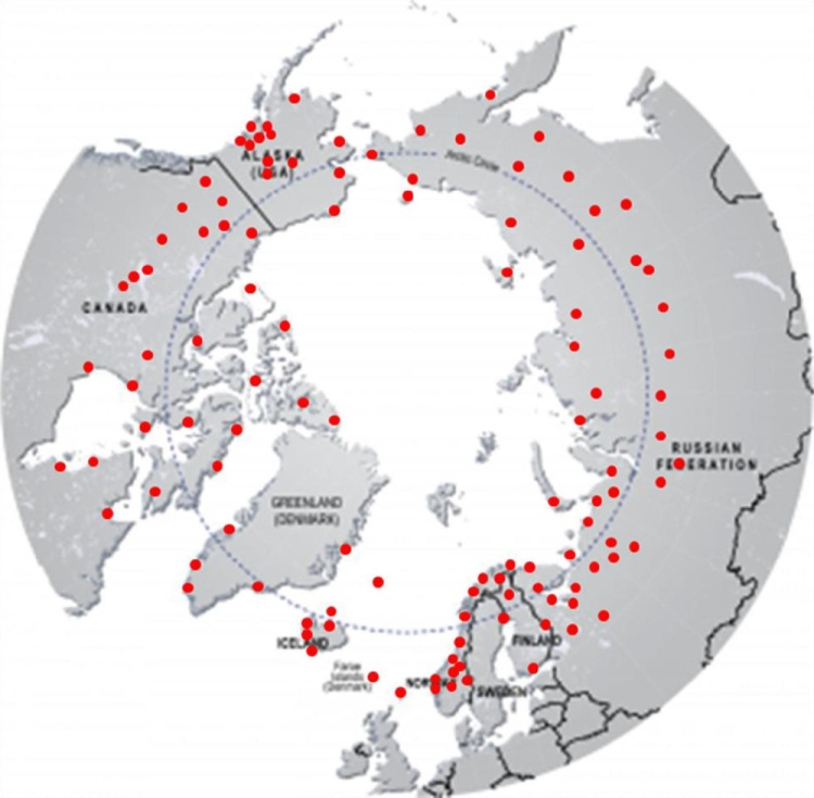 Locations of arctic stations examined in this study
