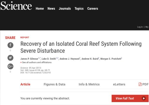 1998 El nino Reef recovery WA