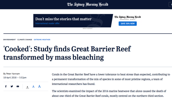'Cooked' - Study finds Great Barrier Reef transformed by mass bleaching - SMH