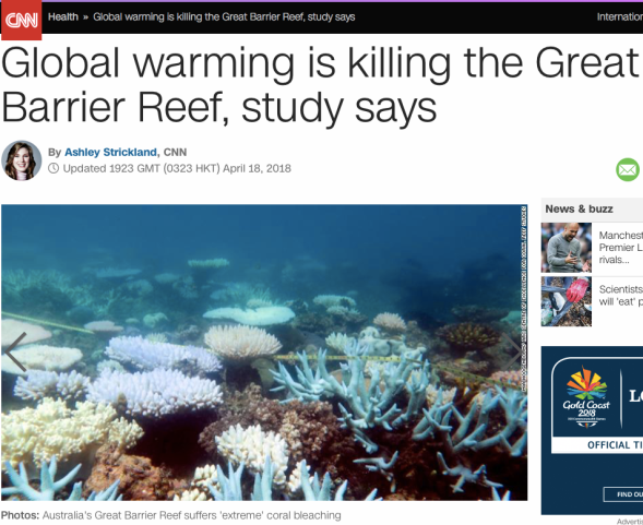 Global warming is killing the Great Barrier Reef, study says - CNN