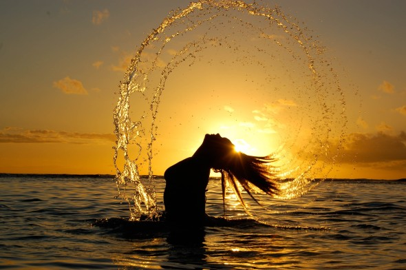 5157_Girl-playing-in-the-water-beautiful- Sun - Climate change