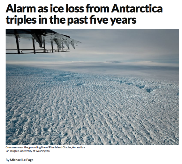 Alarm as ice loss from Antarctica triples in the past five years | New Scientist