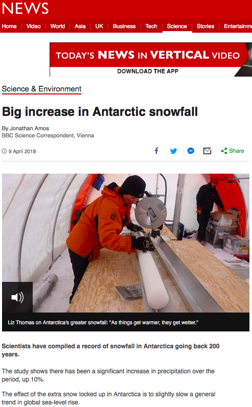 Big increase in Antarctic snowfall – BBC News
