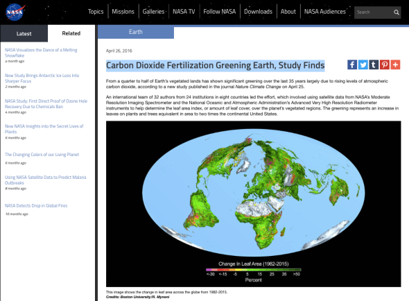 Carbon Dioxide Fertilization Greening Earth, Study Finds | NASA