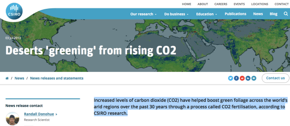 Deserts 'greening' from rising CO2 - CSIRO