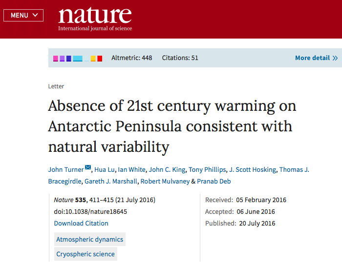 Absence of 21st century warming on Antarctic Peninsula consistent with natural variability | Nature
