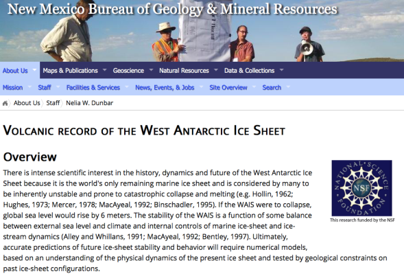 Bureau Staff - Nelia W. Dunbar: Volcanic record in Antarctic ice