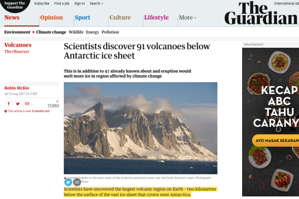 Scientists discover 91 volcanoes below Antarctic ice sheet | World news | The Guardian