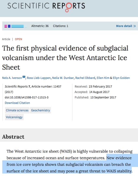 The first physical evidence of subglacial volcanism under the West Antarctic Ice Sheet | Scientific Reports