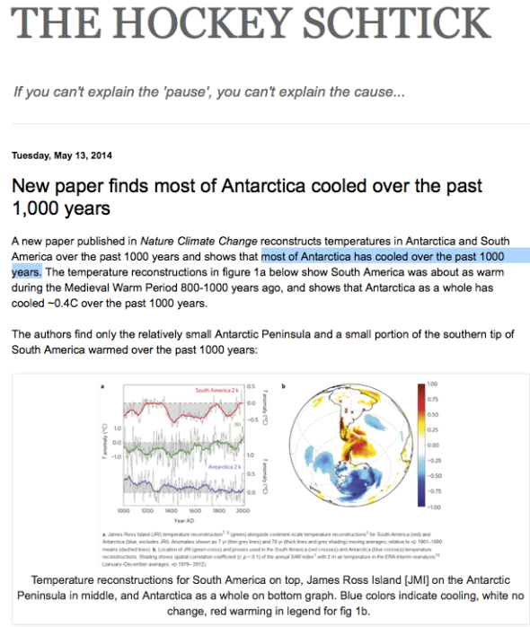 THE HOCKEY SCHTICK: New paper finds most of Antarctica cooled over the past 1,000 years