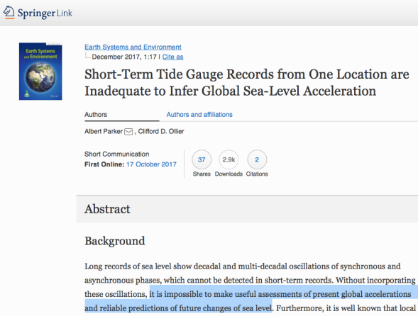 Short-Term Tide Gauge Records from One Location are Inadequate to Infer Global Sea-Level Acceleration | SpringerLink