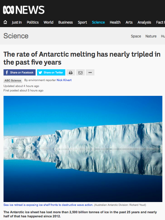 The rate of Antarctic melting has nearly tripled in the past five years - Science News - ABC News