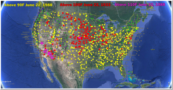 ALMOST the entire country over 90 degrees and much of the country over 100 degrees (T.Heller)