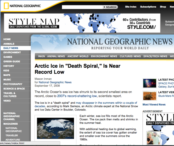 "ARCTIC ICE ""Death Spiral"" 