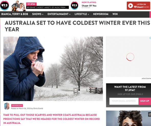 Australia Set To Have Coldest Winter EVER This Year | 97.3fm - Brisbane's widest variety of music from the '80s to now