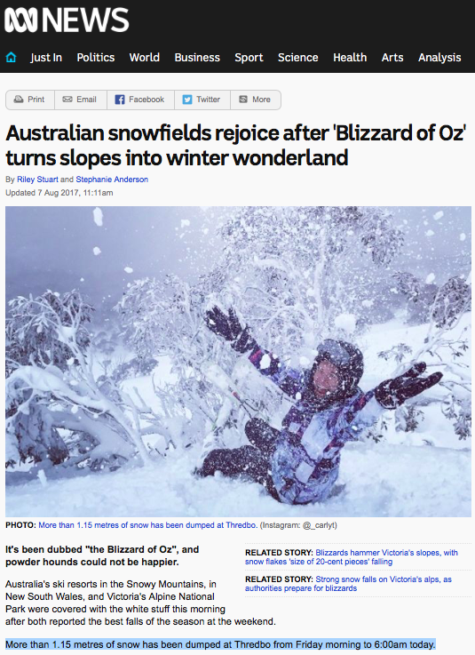 Australian snowfields rejoice after 'Blizzard of Oz' turns slopes into winter wonderland - ABC News