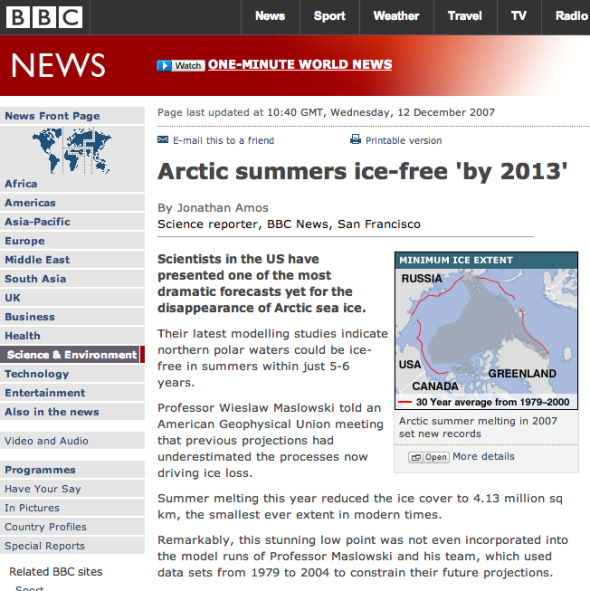 BBC NEWS | Science:Nature | Arctic summers ice-free 'by 2013_