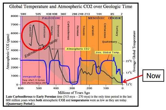 Cambrian Era CO2 - Temp Levels CLIMATISM