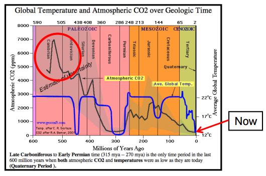Cambrian Era CO2 - Temp Levels CLIMATISM