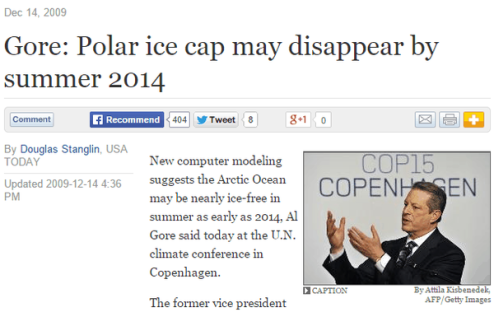 Gore- Polar ice cap may disappear by summer 2014