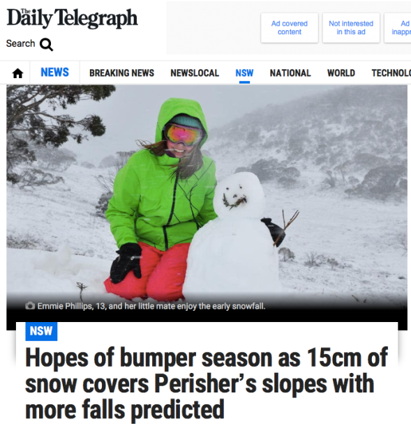 Hopes of bumper season as 15cm of snow covers Perisher_s slopes with more falls predicted | Daily Telegraph