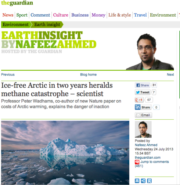 Ice-free Arctic in two years heralds methane catastroph - scientist | The Guardian