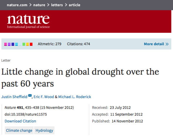 Little change in global drought over the past 60 years | Nature