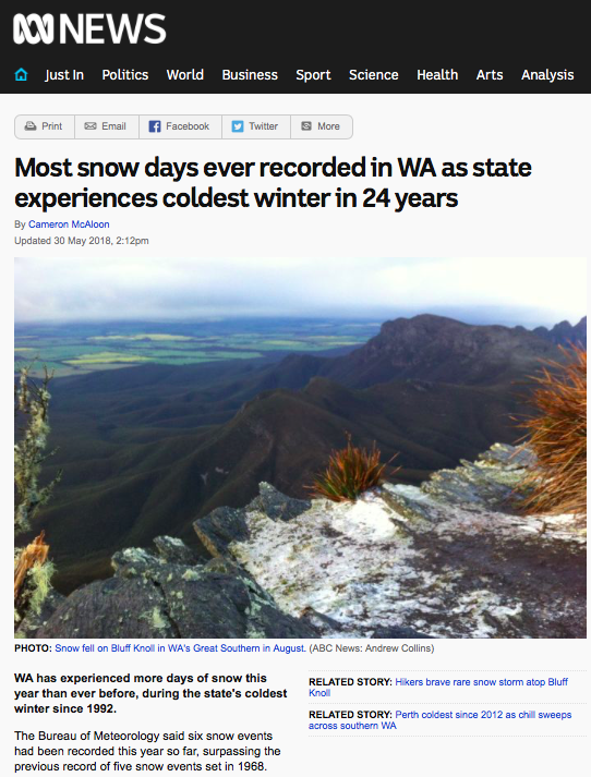 Most snow days ever recorded in WA as state experiences coldest winter in 24 years - ABC News