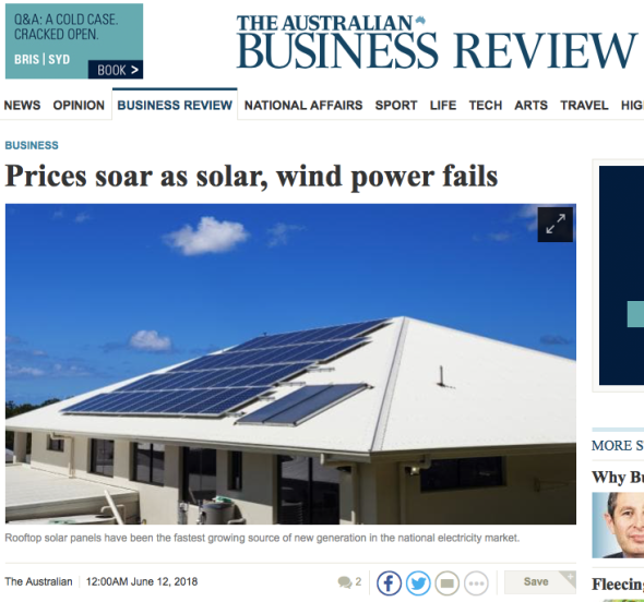 Prices soar as solar, wind power fails | The Australian