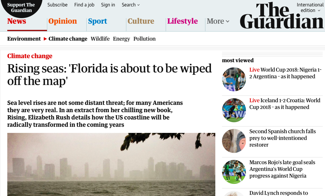 Rising seas - 'Florida is about to be wiped off the map' | Environment | The Guardian