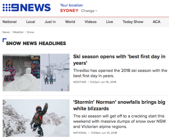 Snow - 9News - Latest news and headlines from Australia and the world