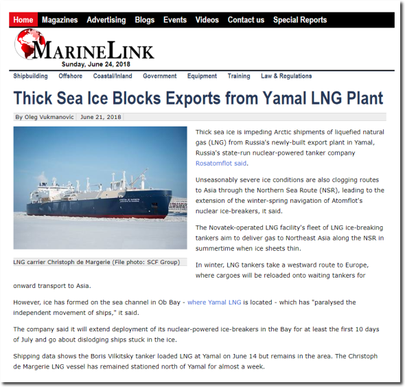 Thick Sea Ice Blocks Exports From Yamal LNG Plant