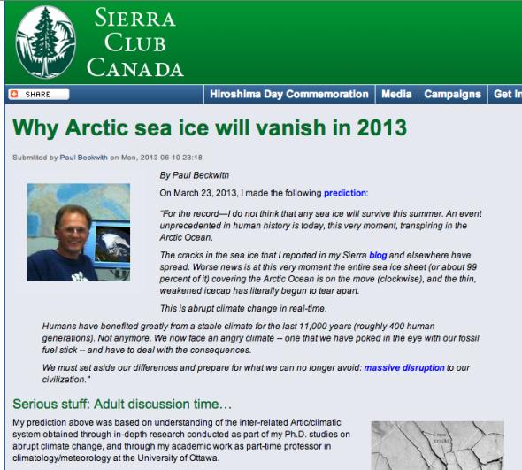 Why Arctic sea ice will vanish in 2013 | Sierra Club Canada