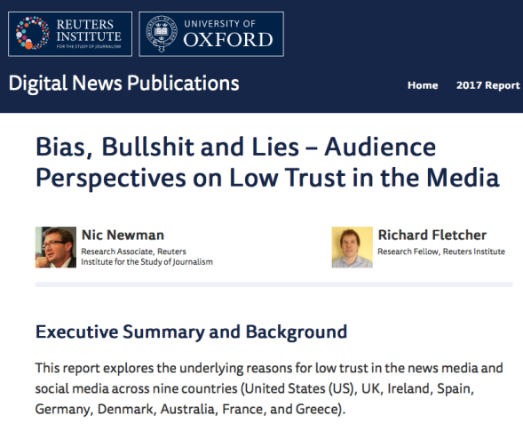 Bias, Bullshit and Lies - Audience Perspectives on Low Trust in the Media - Reuters Institute Digital News Report