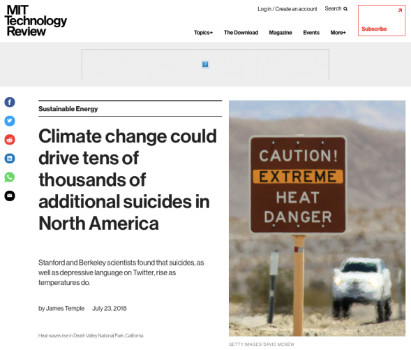 Climate change could drive tens of thousands of additional suicides in North America - MIT Technology Review