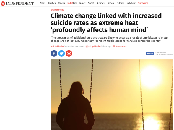 Climate change linked with increased suicide rates as extreme heat 'profoundly affects human mind_ | The Independent