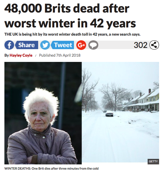 """Runaway Global Warming"" Update- 48,000 Brits Dead After Worst Winter In 42 Years 