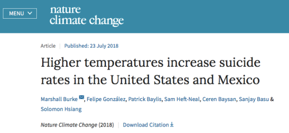 Higher temperatures increase suicide rates in the United States and Mexico | Nature Climate Change.