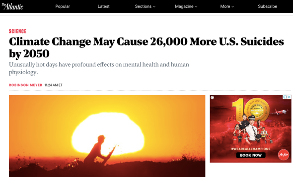 New Study - Climate Change Will Cause Suicides to Spike | The Atlantic