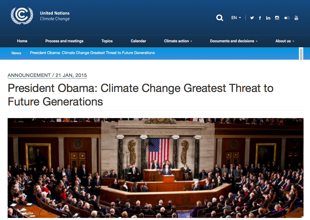 President Obama - Climate Change Greatest Threat to Future Generations | UNFCCC