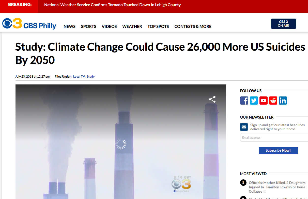 Study - Climate Change Could Cause 26,000 More US Suicides By 2050 | CBS Philly