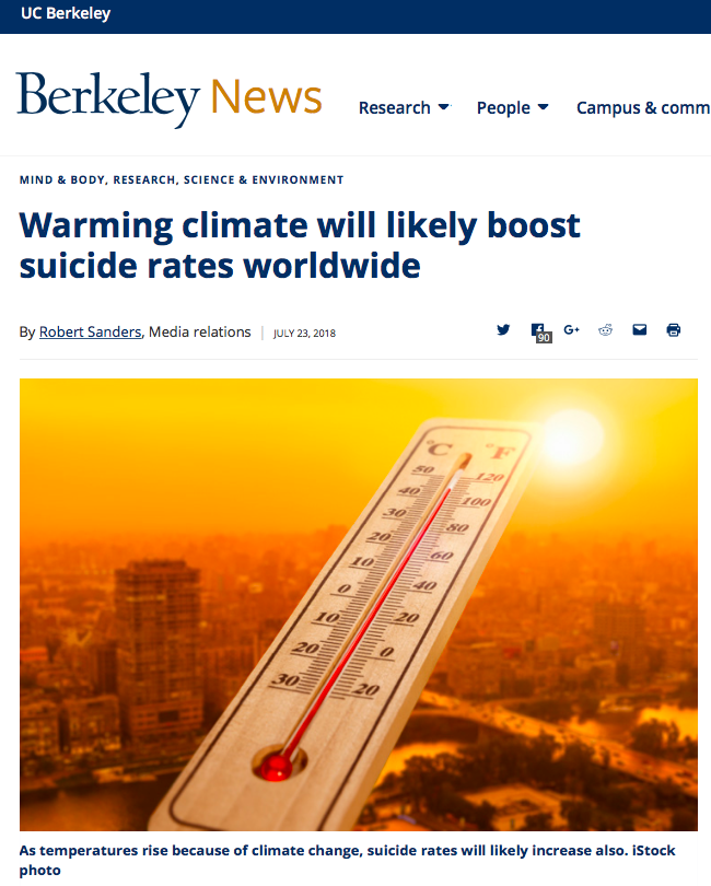 Warming climate will likely boost suicide rates worldwide | Berkeley News