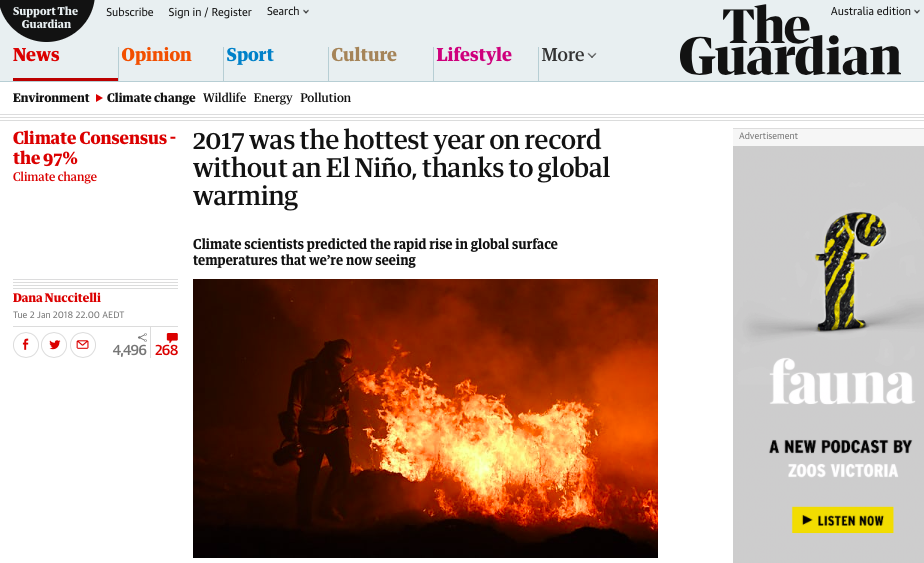 2017 was the hottest year on record without an El Niño, thanks to global warming | Dana Nuccitelli | Environment | The Guardian