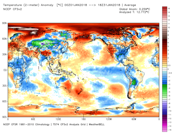 NCEP January Temp Anomaly