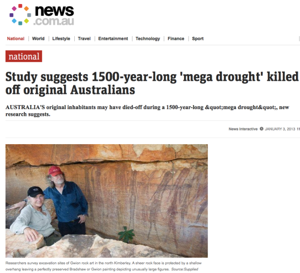 Study suggests 1500-year-long 'mega drought' killed off original Australians
