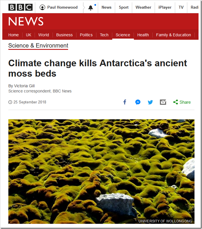 Climate change kills Antarctica's ancient moss beds - BBC News